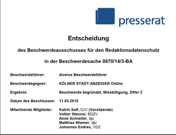 """Bei uns heißt es ab jetzt: """"Der vom deutschen Presserat wegen Denunziation gerügte Kölner Stadtanzeiger ...."""